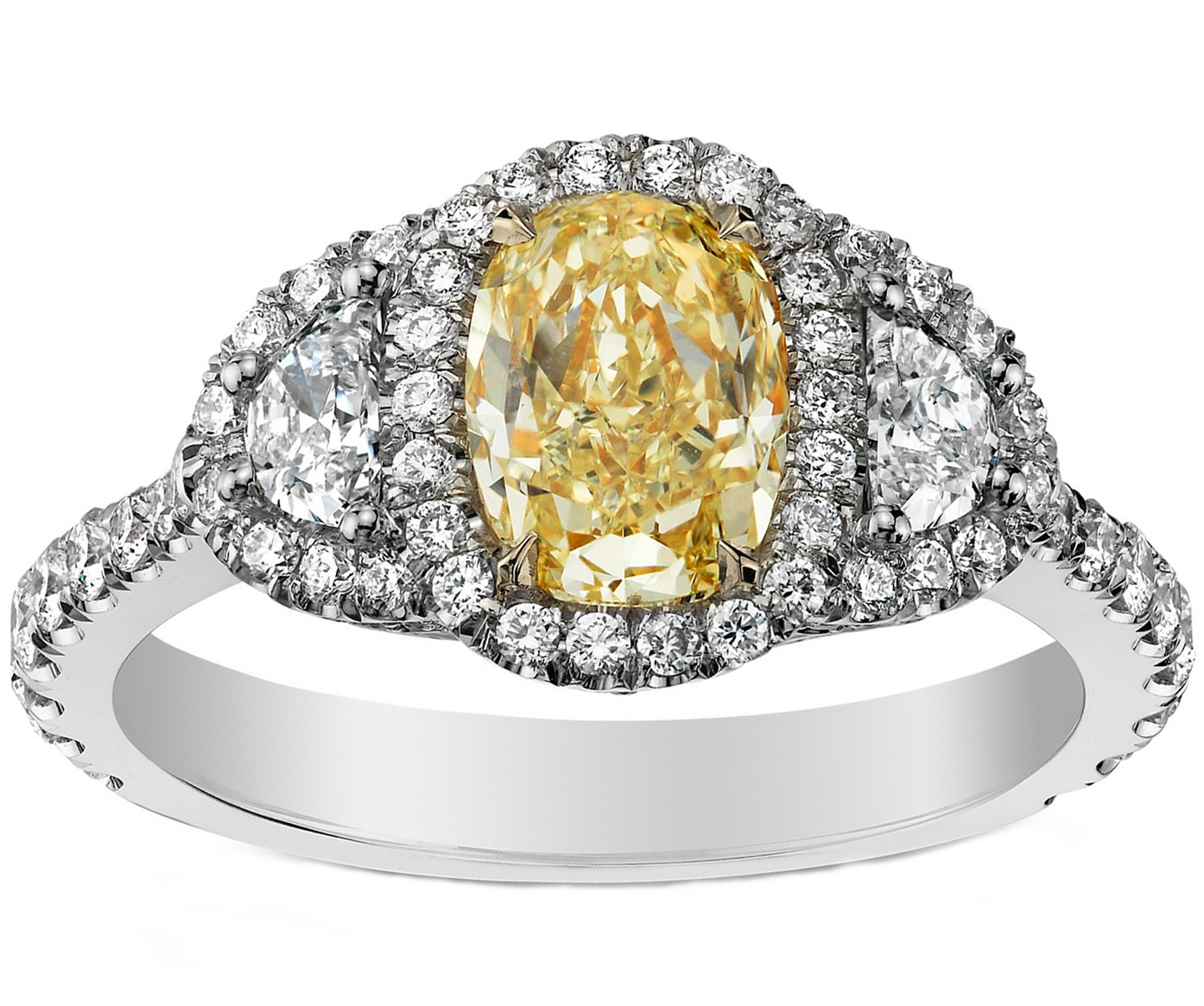Fancy Yellow Oval Diamond Micropavé Halo Ring in 14K White Gold
