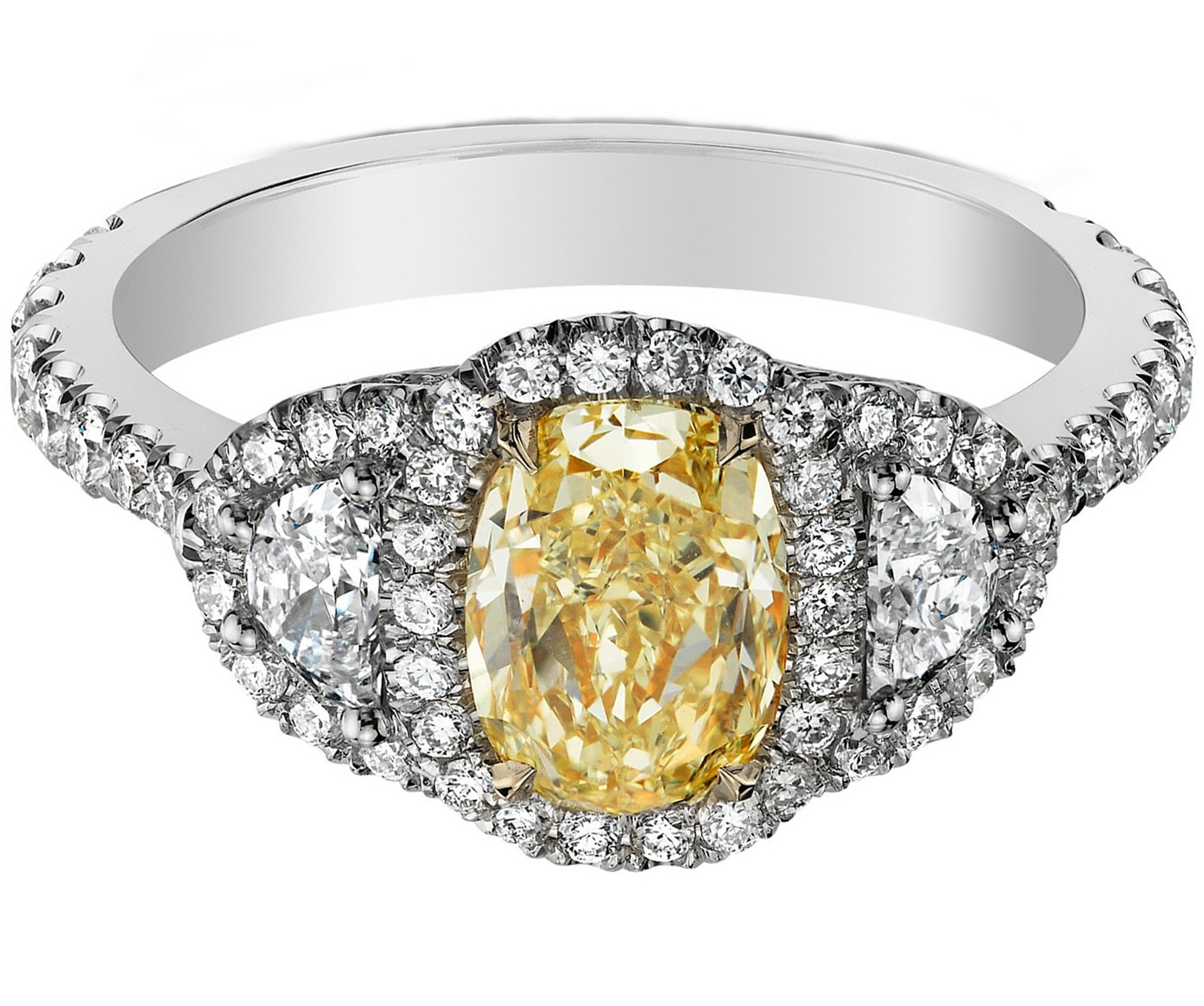 Fancy Yellow Oval Diamond Micro pave Halo Ring in 14K White Gold