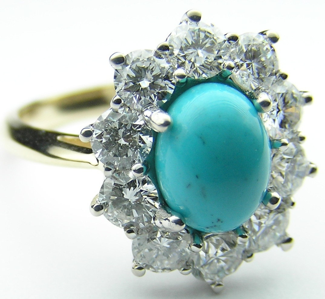 turquoise and diamond wedding ring european engagement ring oval turquoise flower 8114