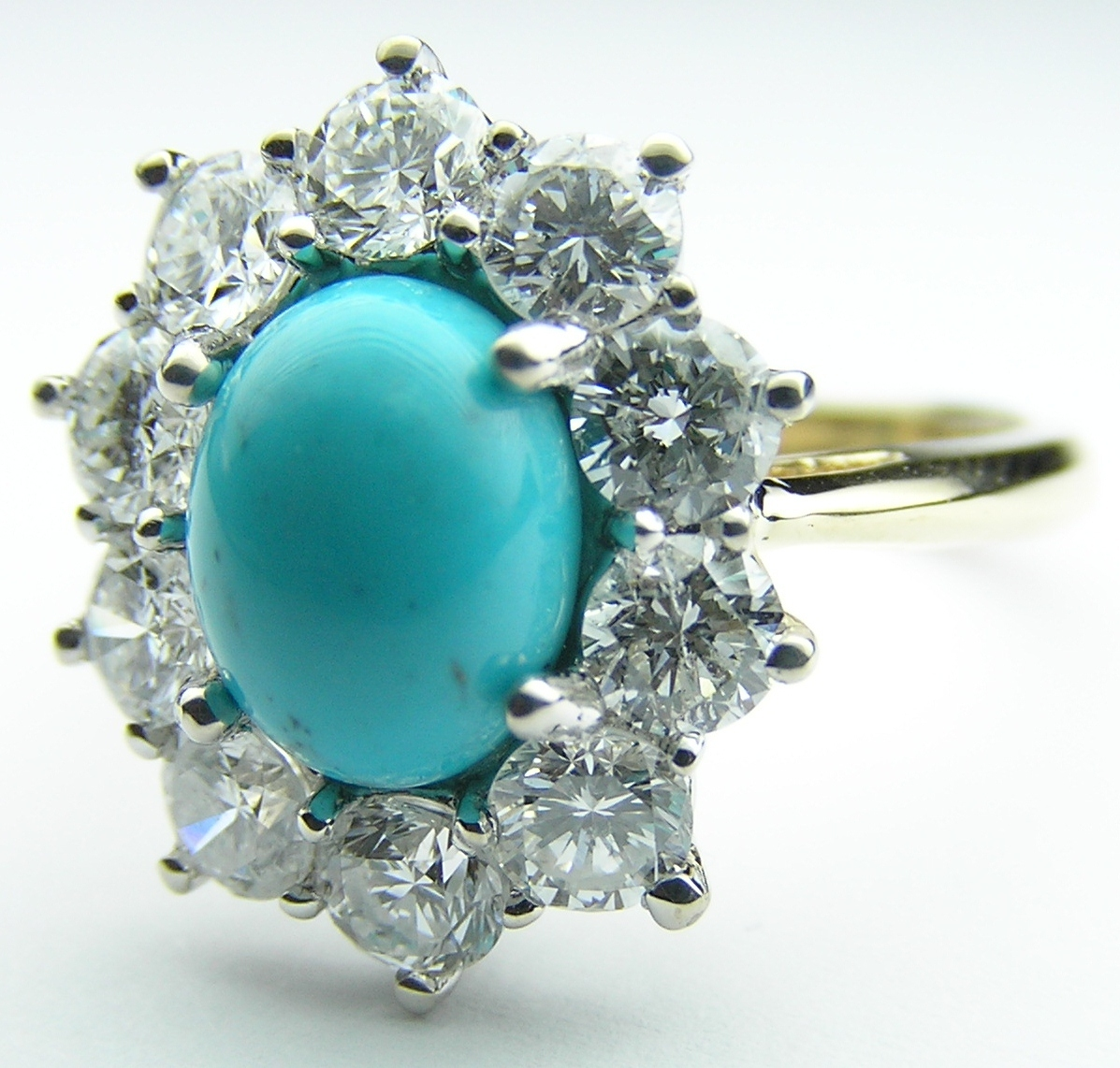 European Engagement Ring Oval Turquoise Flower Diamond Halo In 14k Yellow Gold Er276