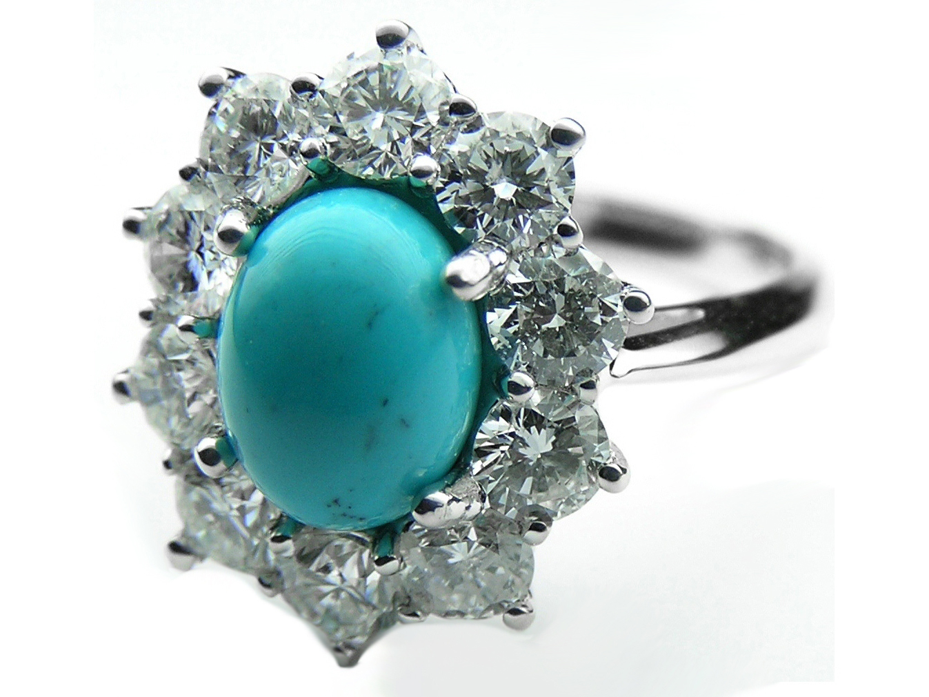 European Engagement Ring Oval Turquoise Flower Diamond Halo Ring