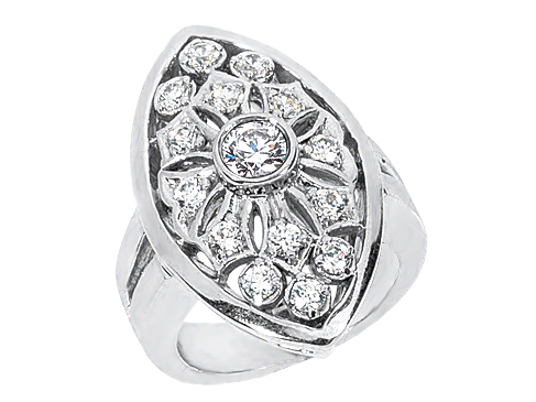 Filigree Round Diamond Ring With Marquise Shape Halo