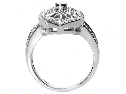 Filigree Round Diamond Ring With Marquise Shape Diamond Halo and Split Band