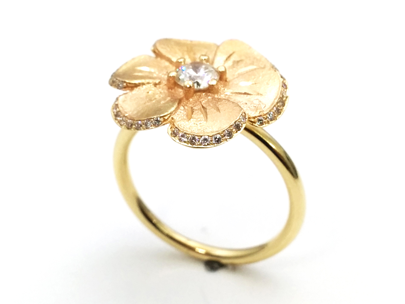 Hand Made Rustic Floral Pave Diamond Engagement Ring in Yellow Gold