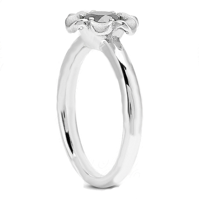 Solitaire Floral Diamond Engagement Ring