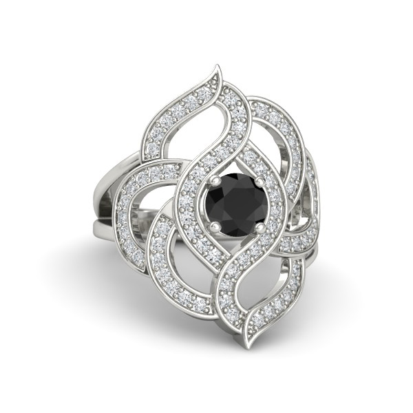 Floral Black and White Diamond Ring