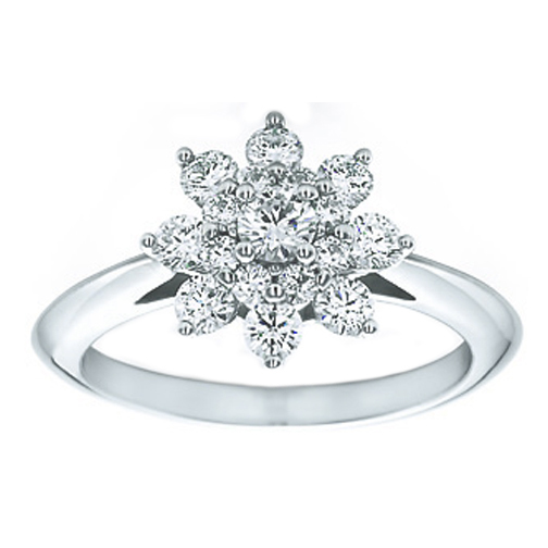 Flower Diamond Engagement Ring 0.63 TCW in 14K White Gold