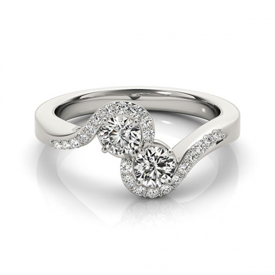 Duo Semi Halo Swirl Engagement or Promise Ring, 0.70tcw.
