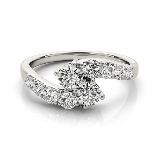 Duo Graduated Diamond Engagement or Anniversary Ring, 1 tcw.