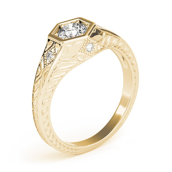 Hexagon Engraved Round Diamond Ring in Yellow Gold