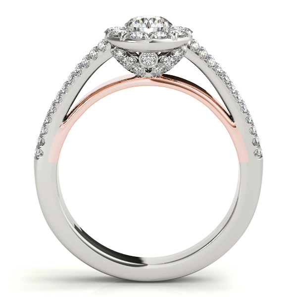 Split Band Halo Ring and Matching Band with Rose Gold