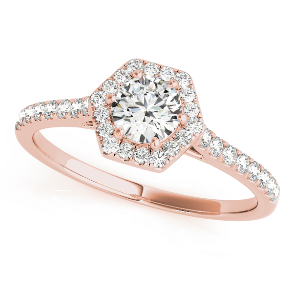Hexagon Halo Round Diamond Filigree Ring in Rose Gold