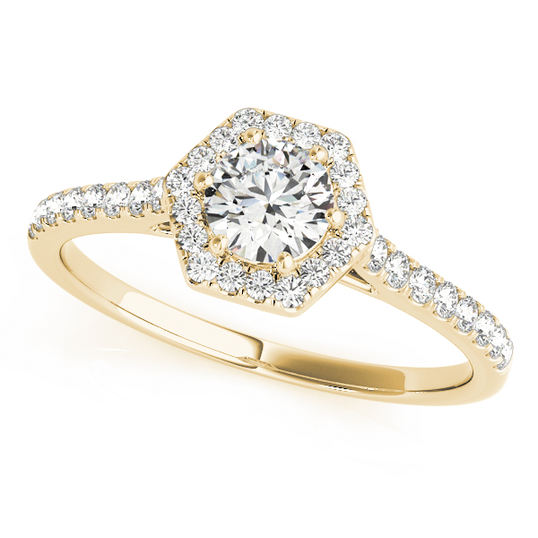 Hexagon Halo Round Diamond Filigree Ring in Yellow Gold