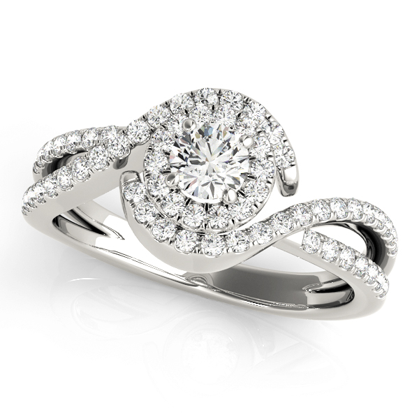 Intertwined Swirl Halo Diamond Split Band Ring