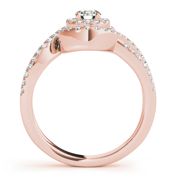 Intertwined Swirl Halo Diamond Split Band Ring in Rose Gold