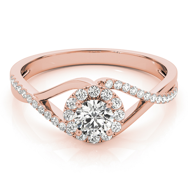 Infinity Swirl Halo Diamond Ring in Rose Gold 0.41 tcw.