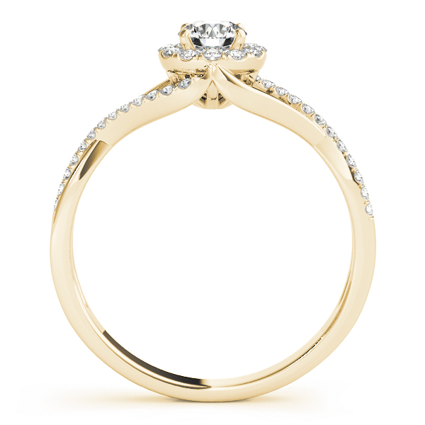 Infinity Swirl Halo Diamond Ring in Yellow Gold 0.41 tcw.