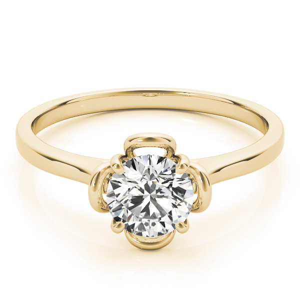 Solitaire Floral Promise Ring in Yellow Gold 0.33 Carat.