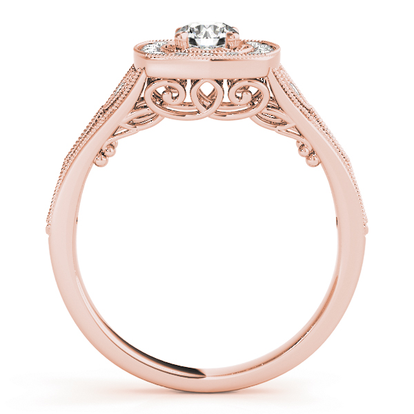 Vintage Style Halo Diamond Promise Ring in Rose Gold 0.27 tcw.