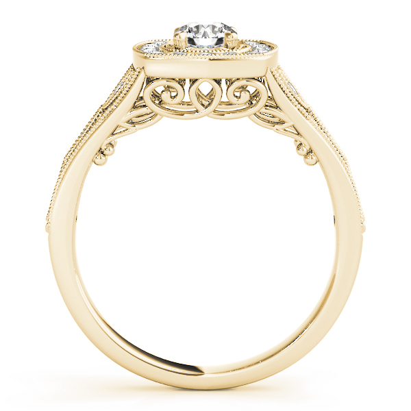Vintage Style Halo Diamond Promise Ring in Yellow Gold 0.27 tcw.
