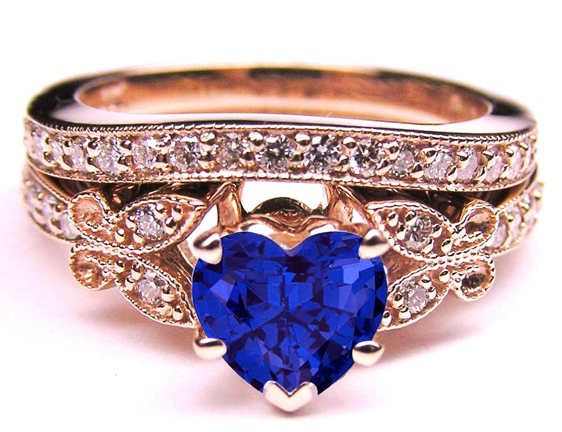 Blue Sapphire Heart Shape Diamond Butterfly Bridal Set in 14K Pink Gold