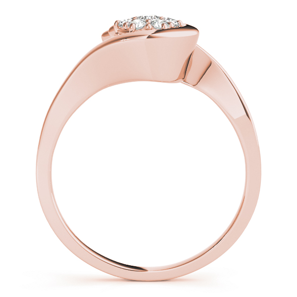 Round Swirl Cluster Diamond Promise Ring in Rose Gold 0.21 tcw.