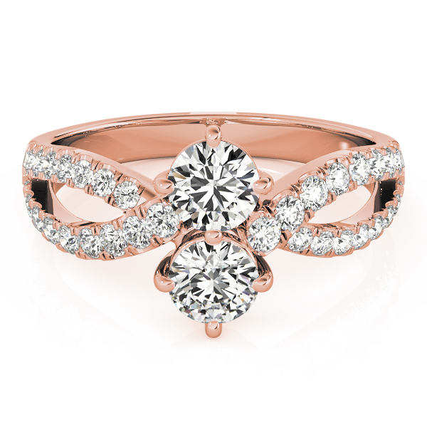 Duo Diamond Split Band Promise Ring In Rose Gold 0.86 Carat