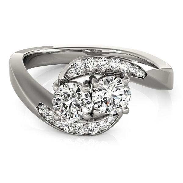 Duo Diamond Swirl Band Promise Ring 0.60 Carat