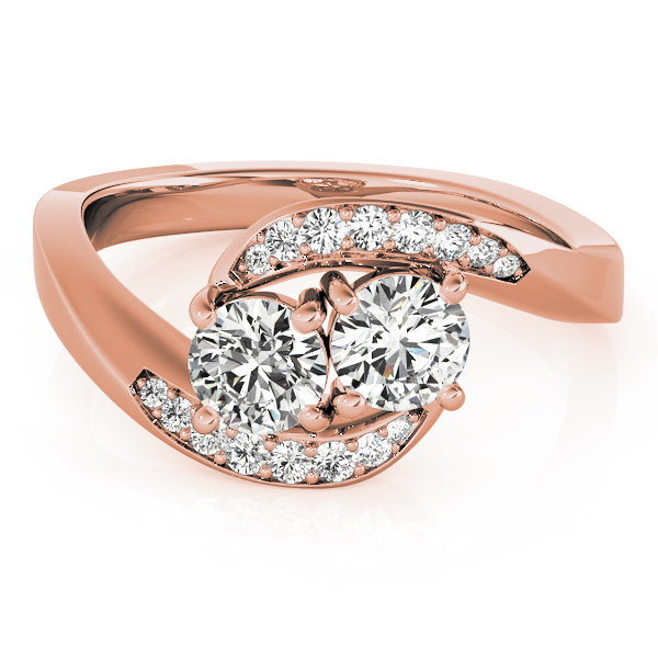 Duo Diamond Swirl Band Promise Ring In Rose Gold 0.60 Carat
