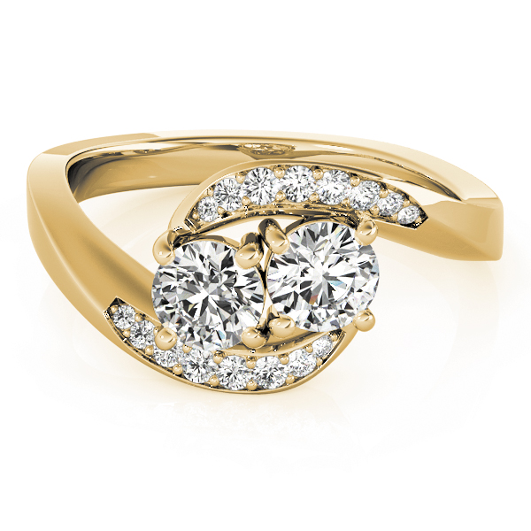 Duo Diamond Swirl Band Promise Ring In Yellow Gold0.60 Carat