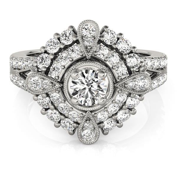 Diamond Compass Double Halo Ring