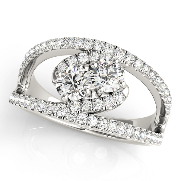 Diamond Duo Split Band Swirl Ring