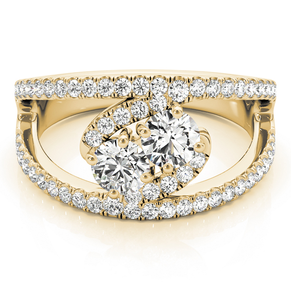 Round Diamond Duo Split Band Swirl Ring in Yellow Gold