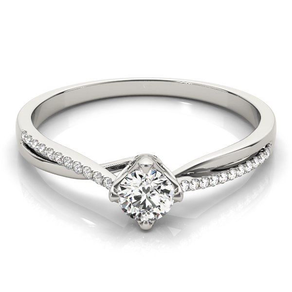 Petite Split Band Round Diamond Swirl Ring