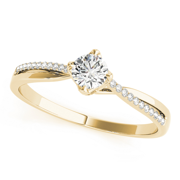 Petite Split Band Diamond Swirl Ring in Yellow Gold
