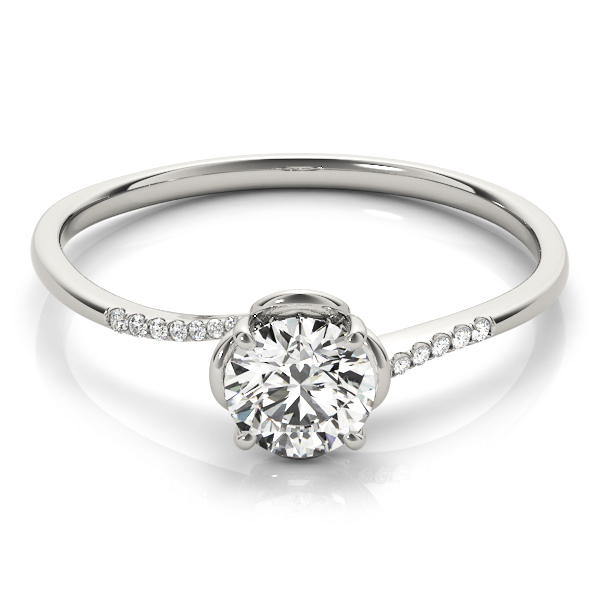 Petite Floral Swirl Round Diamond Ring