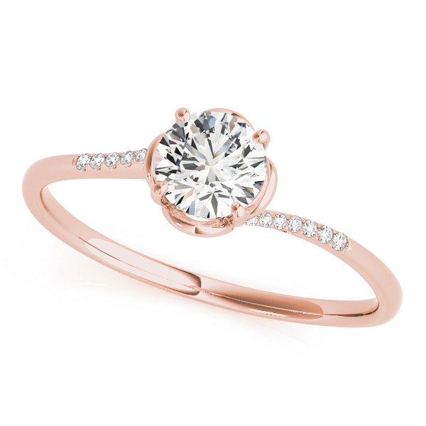 Petite Floral Swirl Round Diamond Ring in Rose Gold