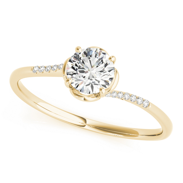 Petite Floral Swirl Round Diamond Ring in Yellow Gold