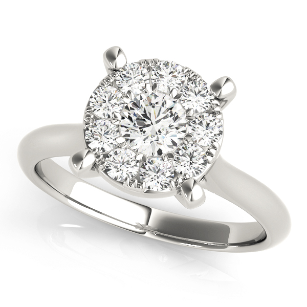 Round Diamond Halo Cathedral Cluster Ring