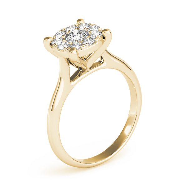 Diamond Halo Cathedral Cluster Ring in Yellow Gold