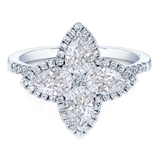 Four Petal Pear Shape & Pave Diamond Ring