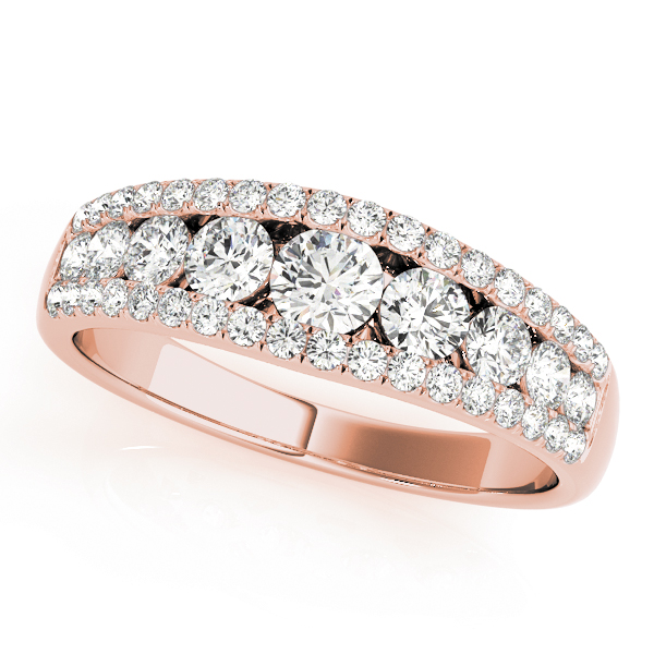 Triple Row Diamond Ring in Rose Gold