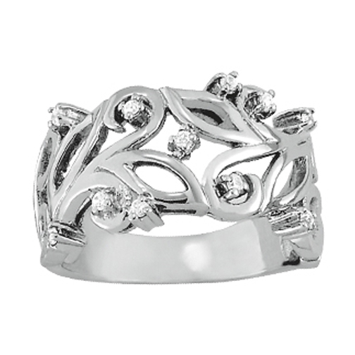 Wide Vine Diamond Ring