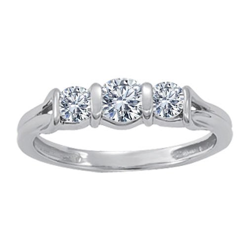 Three Stone Love Knot Petite Diamond Anniversary Band