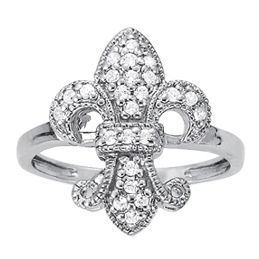 Fleur de Lis Pave Set Diamond Ring