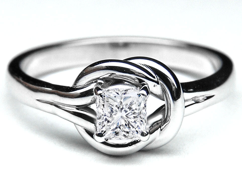 Infinity Knot Diamond Ring White Gold