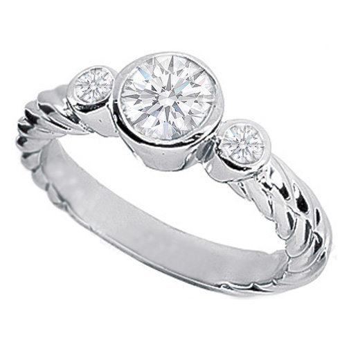 Three Stone Round Diamond Rope Engagement Ring 0.70 Carat