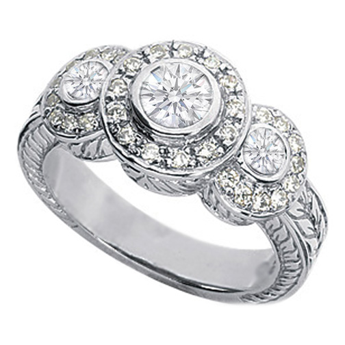 Three Stone Circlet Vintage Filigree Engagement Ring 0.86 Carat tw in 14K White Gold