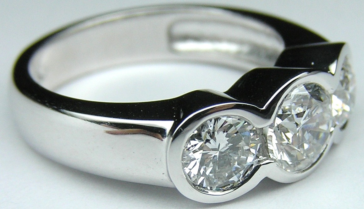 Three Stone Round Diamond Bezel Set Engagement Ring 1.3 Carat