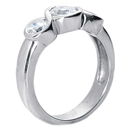 Three Stone infinity  Engagement Ring 1 Carat TW in 14K White Gold